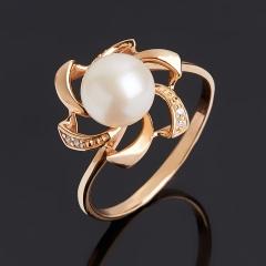 Кольцо жемчуг белый Гонконг (серебро 925 пр. позолота) размер 18