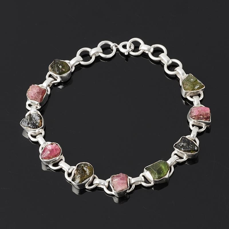 Браслет турмалин зеленый (верделит) розовый (рубеллит) 17 см (+2 см) (серебро 925 пр.)