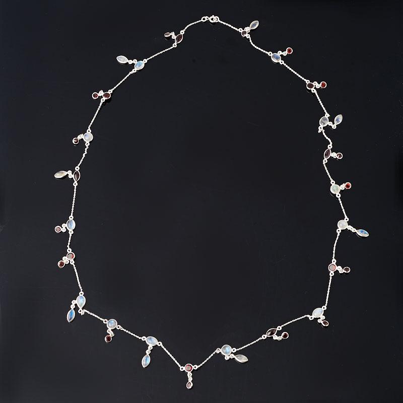 Бусы микс гранат, лунный камень (цепочка) длинные огранка 74 см (серебро 925 пр.)