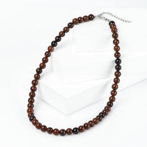 Бусы обсидиан коричневый Армения (биж. сплав) 8 мм 46 см (+7 см)