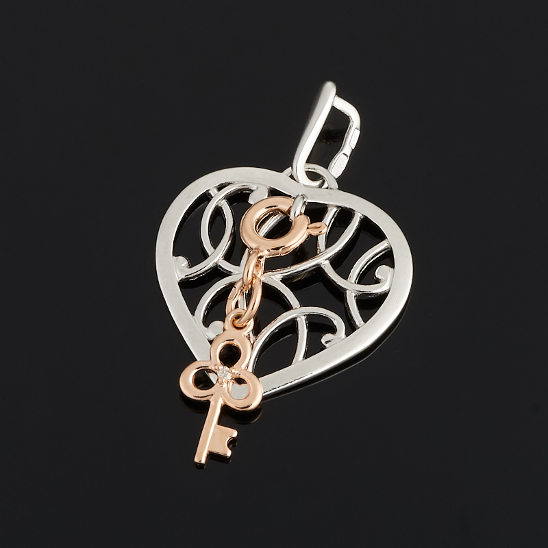 Кулон бриллиант Россия (серебро 925 пр. позолота, родир. бел.) сердечко огранка
