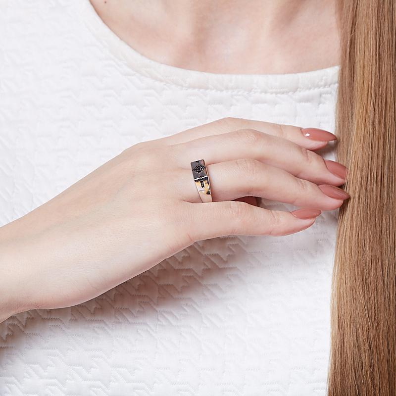 Кольцо бриллиант Россия (серебро 925 пр. родир. бел.) огранка размер 20