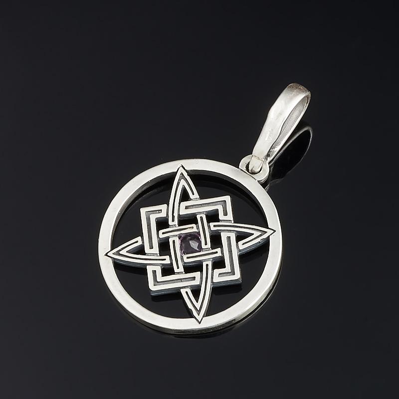 Кулон аметист Намибия (серебро 925 пр. оксидир.) круг огранка
