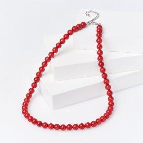 Бусы коралл красный Индонезия (биж. сплав) 8 мм 48 см (+7 см)