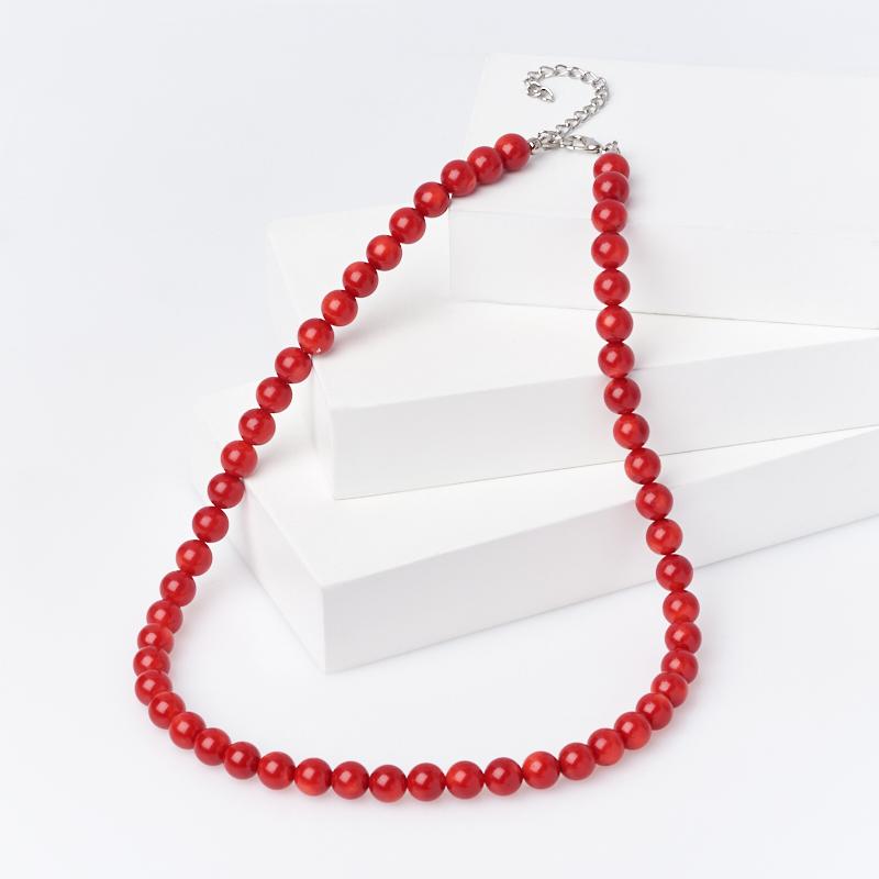 Бусы коралл красный (биж. сплав) 8 мм 48 см (+7 см)