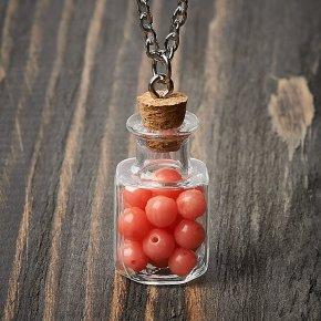 Кулон коралл розовый Индонезия (биж. сплав) бутылочка 3,5 см
