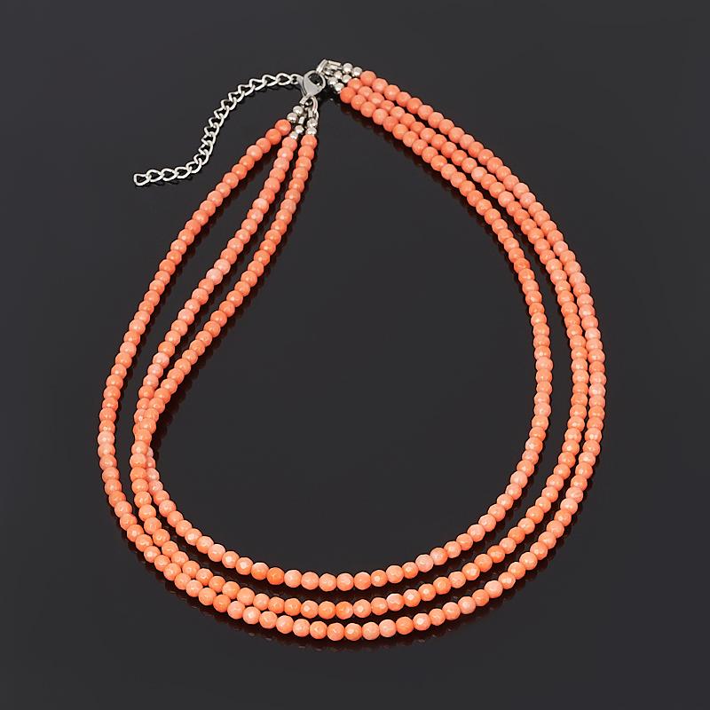 Бусы коралл оранжевый огранка 4 мм 43 см (+7 см) (сталь хир., биж. сплав) бусы teosa цвет фиолетовый оранжевый tur 32 50