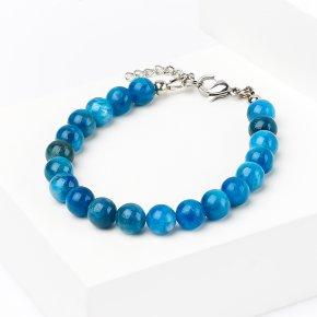 Браслет апатит синий Бразилия (биж. сплав, сталь хир.) 7 мм 16 см (+3 см)