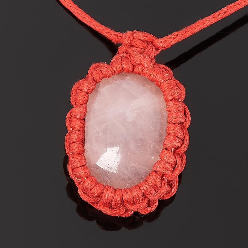Кулон розовый кварц (биж. сплав, текстиль)