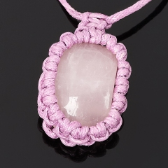 Кулон розовый кварц Бразилия (биж. сплав, текстиль)