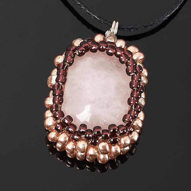 Кулон розовый кварц (текстиль)