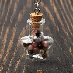 Кулон турмалин бесцветный (ахроит), желтый (дравит), розовый (рубеллит) Бразилия (биж. сплав) бутылочка 3 см