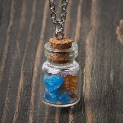 Кулон микс аметист, апатит, янтарь (биж. сплав) бутылочка 3 см