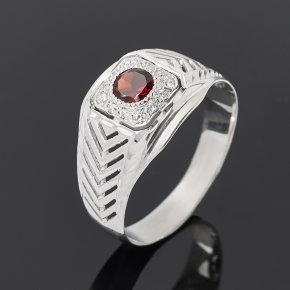 Кольцо гранат альмандин Индия (серебро 925 пр. родир. бел.) огранка размер 20