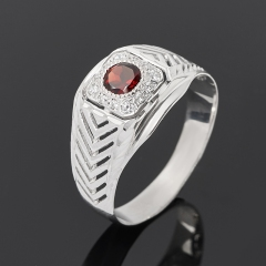 Кольцо гранат альмандин Индия (серебро 925 пр. родир. бел.) огранка размер 21