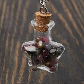 Кулон турмалин Бразилия (биж. сплав) бутылочка 3,5 см