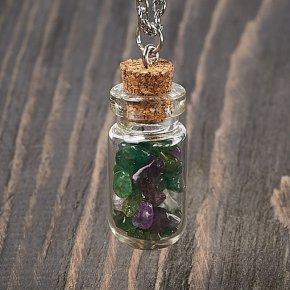 Кулон микс авантюрин, аметист (биж. сплав, стекло) бутылочка 3,5 см