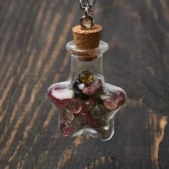Кулон турмалин Бразилия бутылочка огранка (биж. сплав) 3,5 см