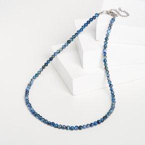 Бусы кианит синий Бразилия (биж. сплав, сталь хир.) 4 мм 46 см (+7 см)