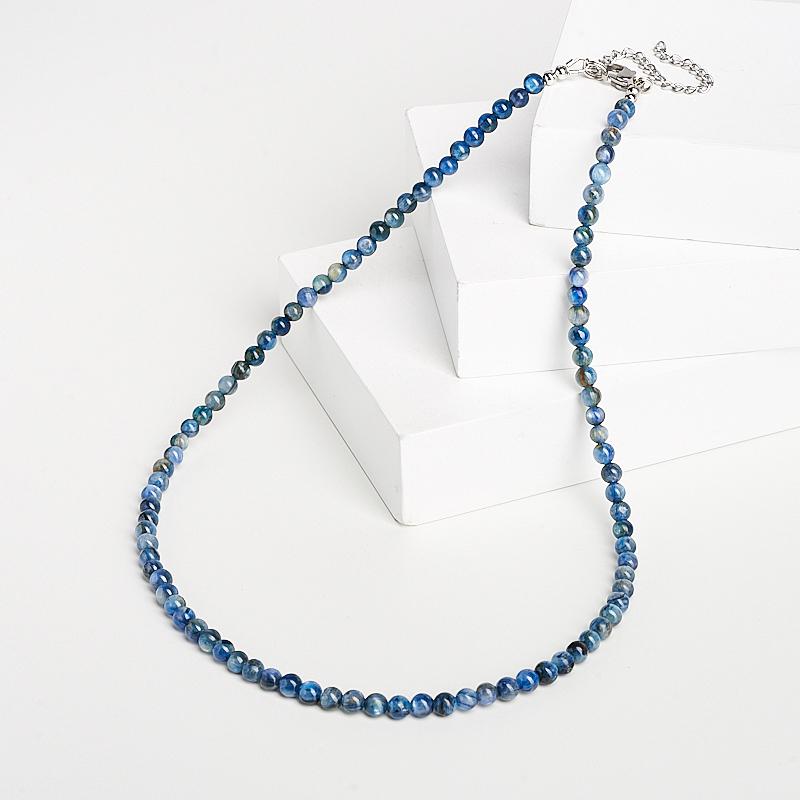 цены Бусы кианит синий (биж. сплав, сталь хир.) 4 мм 46 см (+7 см)