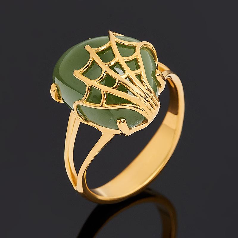 Кольцо нефрит зеленый Россия (серебро 925 пр. позолота) размер 19