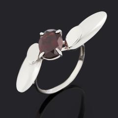 Кольцо гранат альмандин Индия (серебро 925 пр. родир. бел.) огранка размер 18