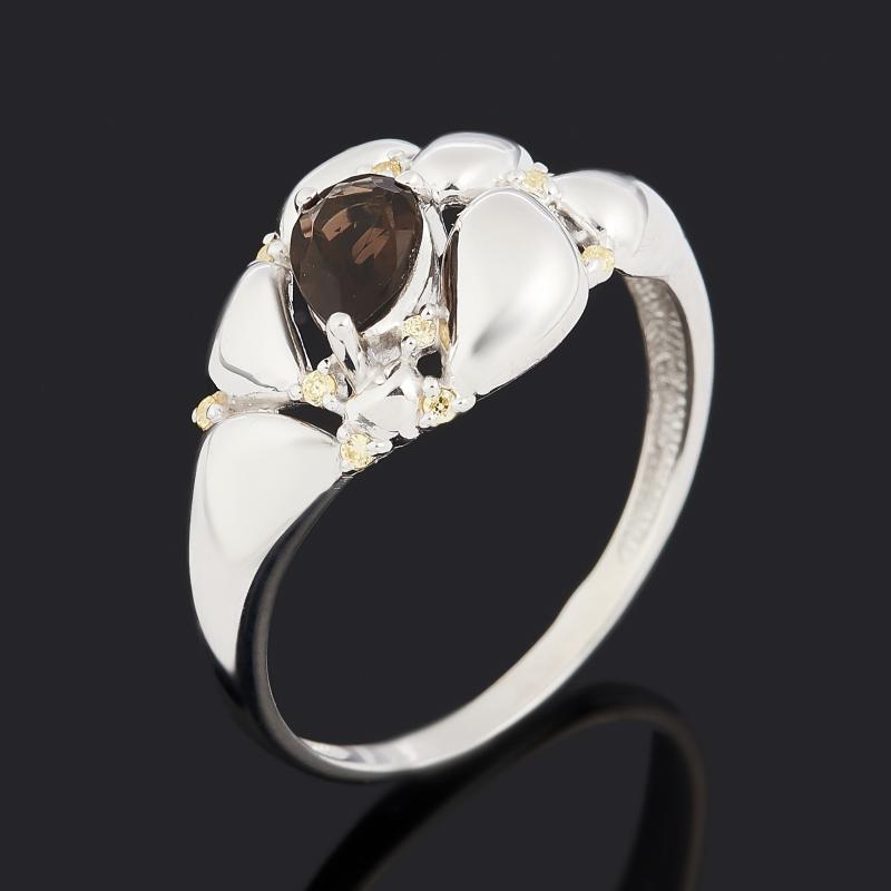 Кольцо раухтопаз (серебро 925 пр. родир. бел., родир. черн.) огранка размер 17