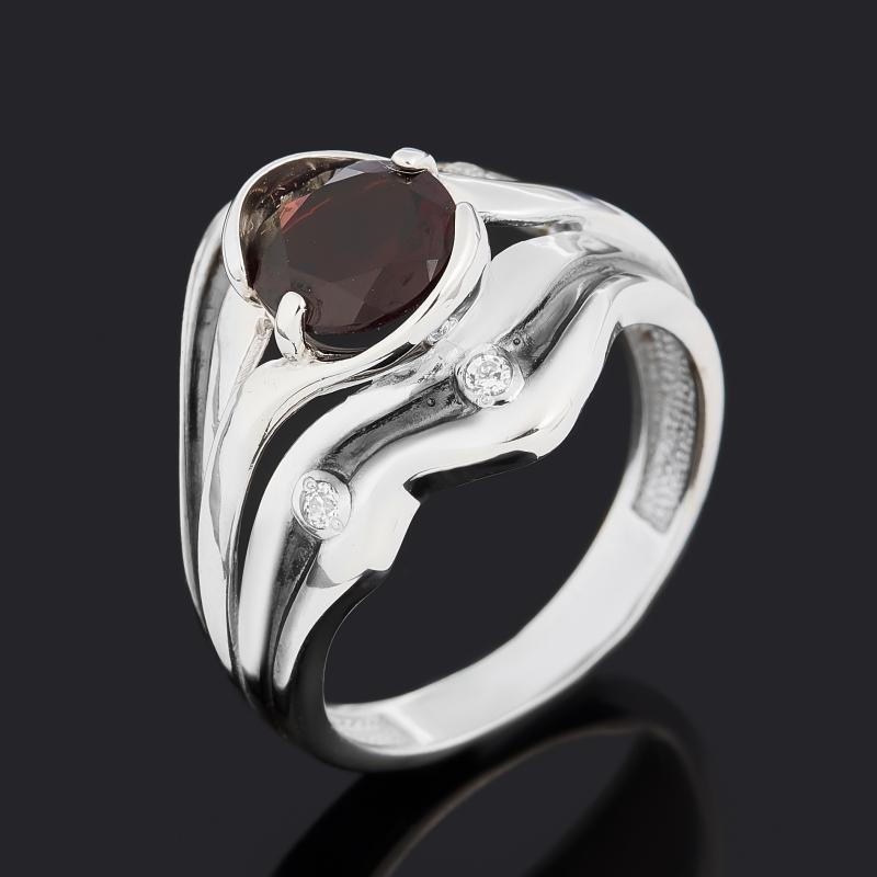 Кольцо гранат альмандин огранка (серебро 925 пр. родир. бел. родир. черн.) размер 17