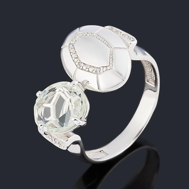 Кольцо празиолит (серебро 925 пр. родир. бел.) огранка размер 18