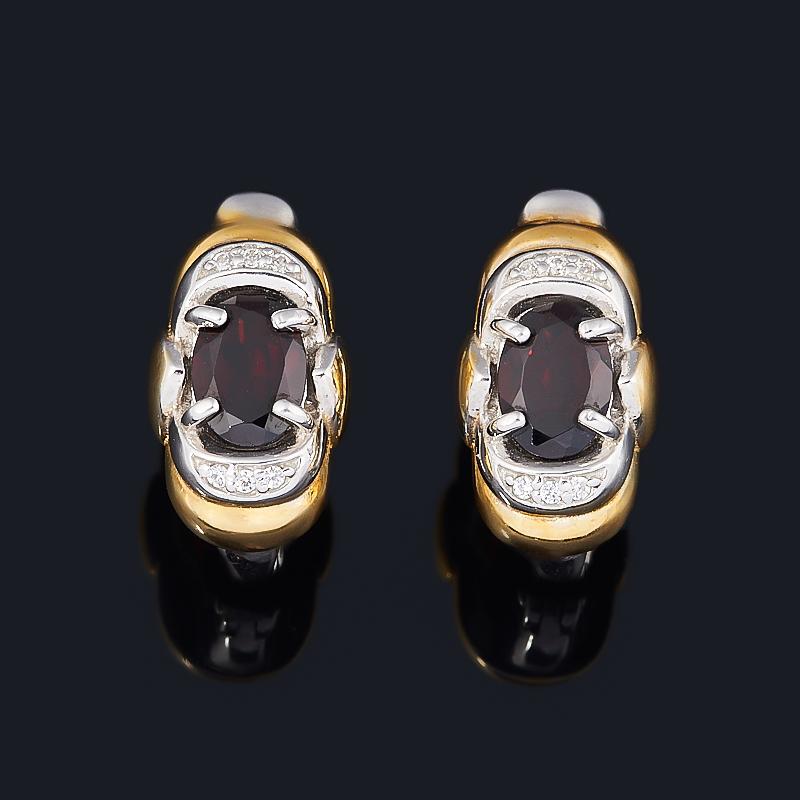Серьги гранат альмандин (серебро 925 пр. позолота, родир. бел.) огранка