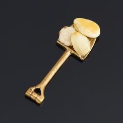 Денежный талисман янтарь Россия (латунь) (лопата денежная)