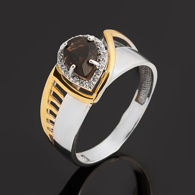 Кольцо раухтопаз (серебро 925 пр. позолота, родир. бел.) огранка размер 17 кольцо раухтопаз серебро 925 пр позолота огранка размер 17 5
