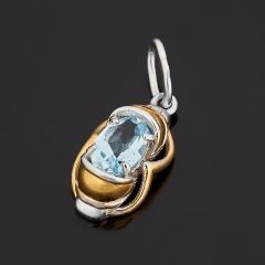 Кулон топаз голубой Бразилия (серебро 925 пр. позолота, родир. бел.) огранка