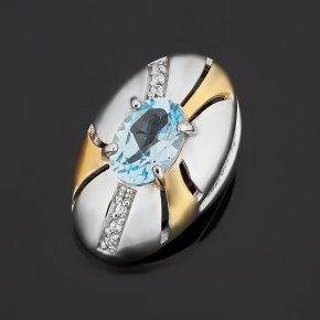 Кулон топаз голубой Бразилия (серебро 925 пр. позолота, родир. бел.) овал огранка