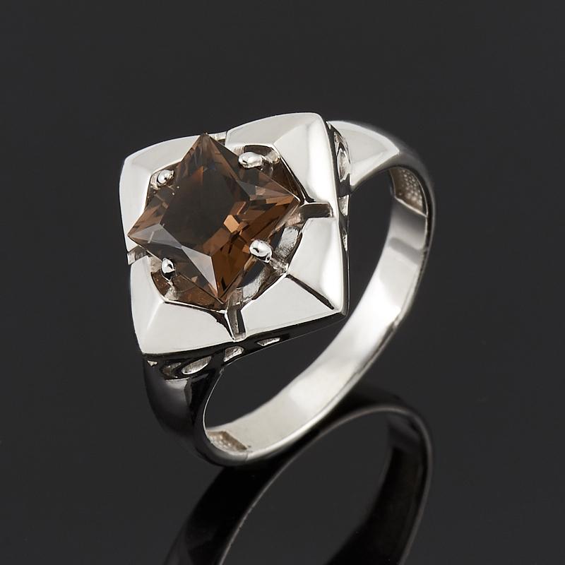 Кольцо раухтопаз (серебро 925 пр. родир. бел.) огранка размер 17 кольцо содалит серебро 925 пр регулируемый размер 17 5