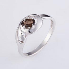 Кольцо раухтопаз Бразилия (серебро 925 пр. родир. бел.) огранка размер 17