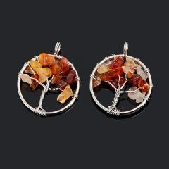 Кулон сердолик Ботсвана круг (биж. сплав) 3,5 см