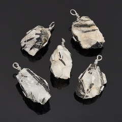 Кулон кварц с турмалином Бразилия (биж. сплав) кристалл 5-6 см