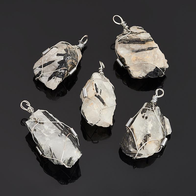 Кулон кварц с турмалином (биж. сплав) кристалл 5-6 см