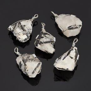 Кулон кварц с турмалином Бразилия (биж. сплав) кристалл 4-5 см