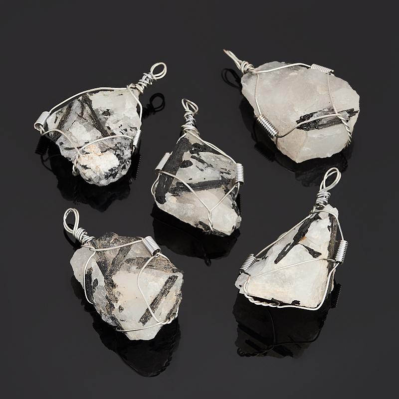 Кулон кварц с турмалином (биж. сплав) кристалл 4-5 см