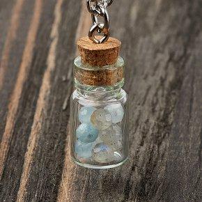 Кулон микс аквамарин, лабрадор (биж. сплав, стекло) бутылочка огранка 2,5 см