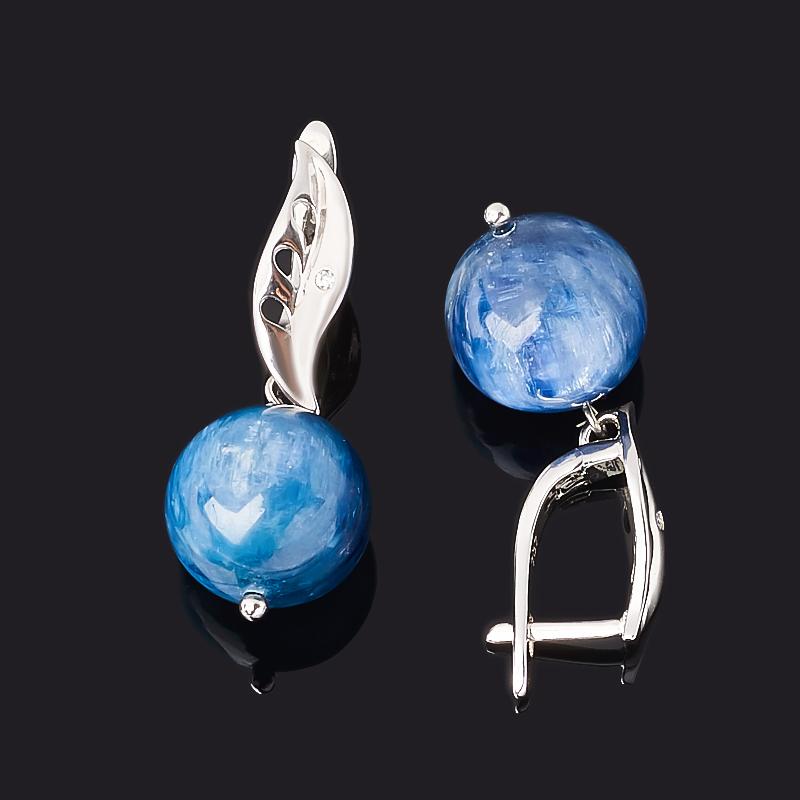 Серьги кианит синий Бразилия (биж. сплав родир. бел.)