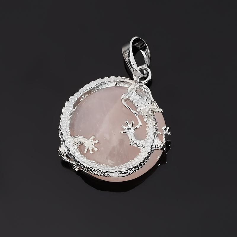 Кулон розовый кварц Бразилия (биж. сплав) дракон 3,5 см