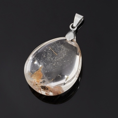 Кулон рутиловый кварц Бразилия (биж. сплав) капля 4 см