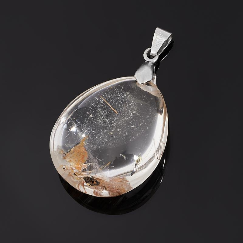 Кулон рутиловый кварц (биж. сплав) капля 4 см фото