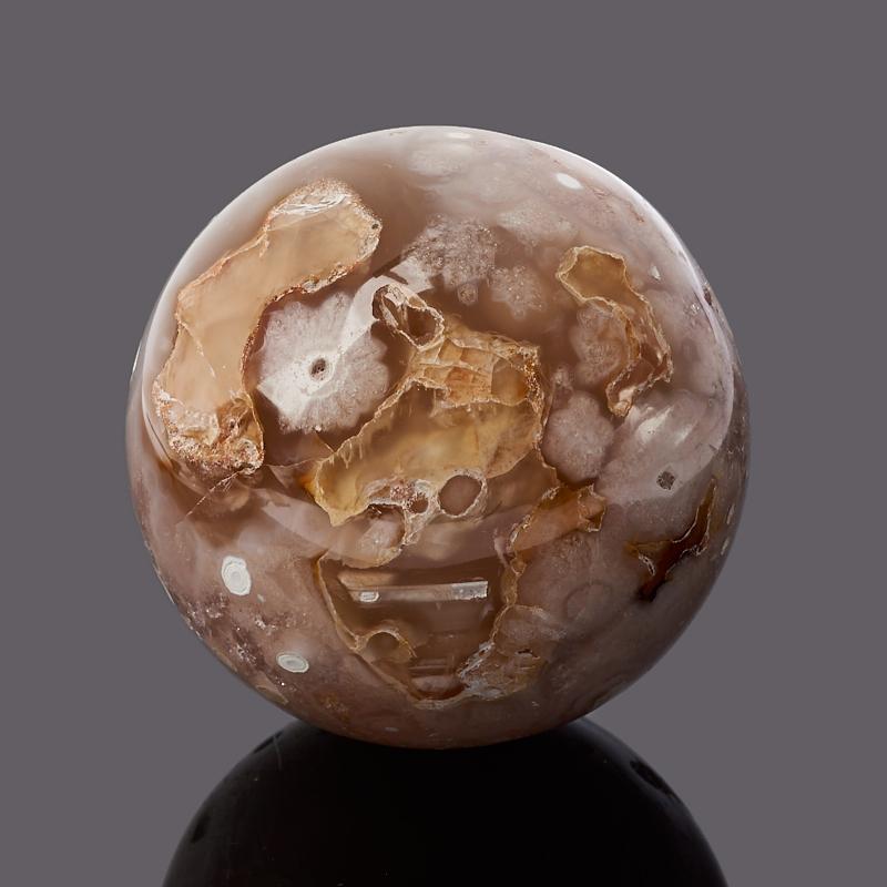Шар агат серый 6 см шар матовый серебряный с черными полосками 6 см 6 шт