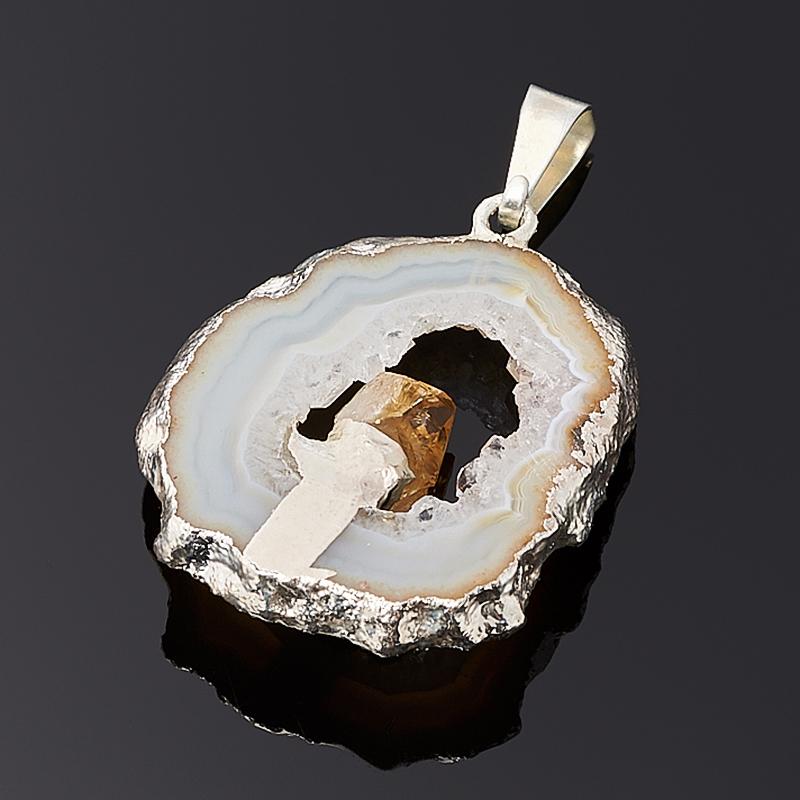 Кулон агат серый Бразилия срез с кристаллом цитрина (биж. сплав) 4 см
