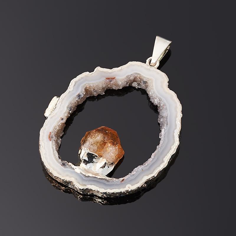 Кулон агат серый Бразилия срез с кристаллом цитрина (биж. сплав) 5 см