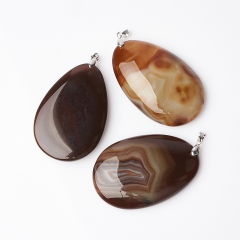 Кулон агат коричневый Ботсвана капля (биж. сплав) капля 7-8 см